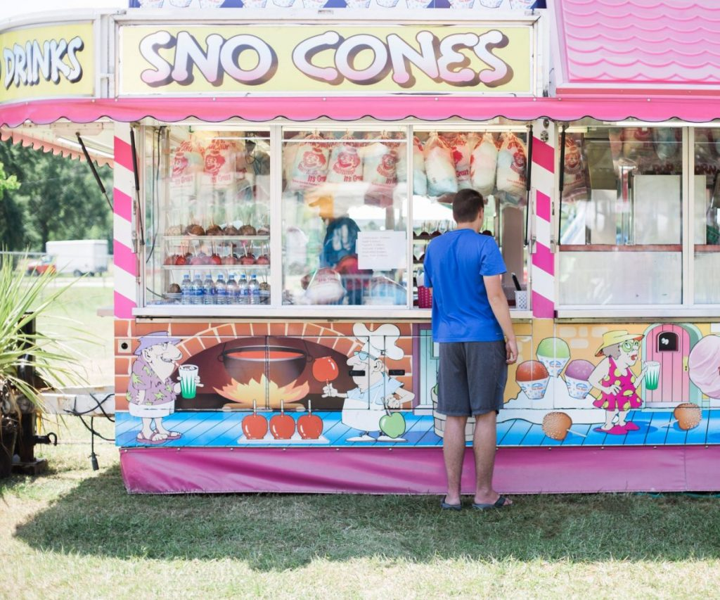 snow cones at candy factory at texas crawfish and music festival in old town spring
