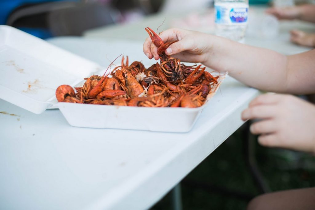 crawfish by the pound at texas crawfish and music festival in old town spring
