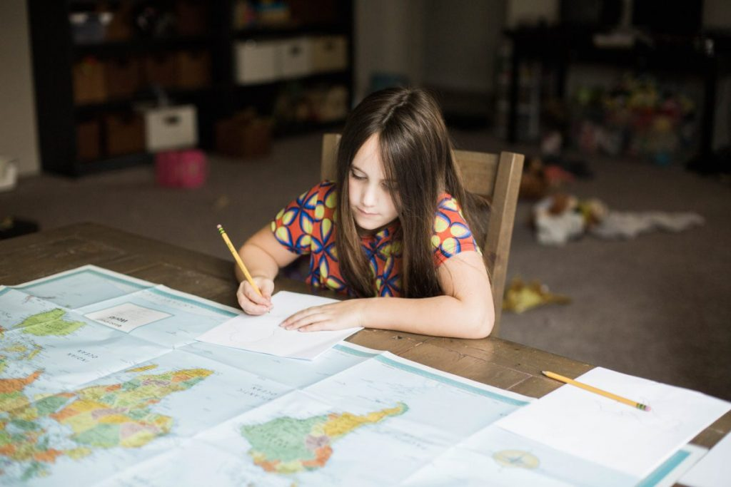 Learning together in homeschool using one-pagers. This is how we learn with unschooling. Houston lifestyle and parenting blogger, 2018