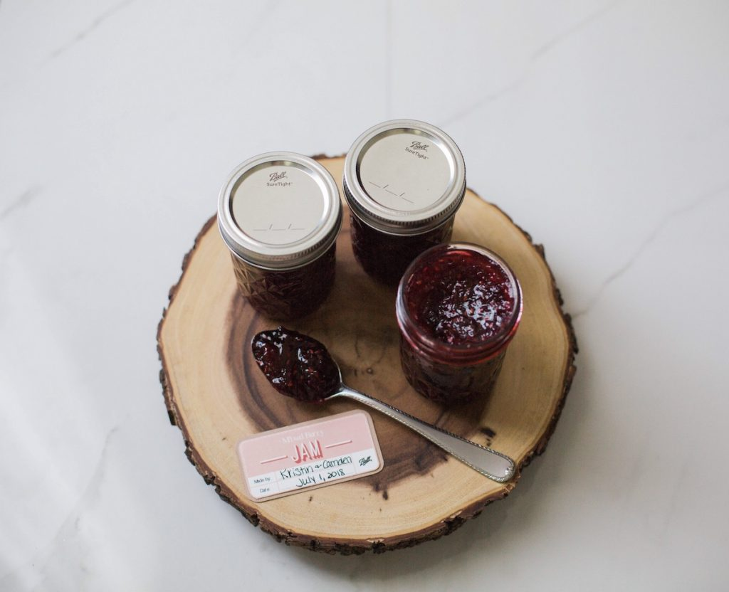 Small batch canning with Ball®. Mixed berry jam with fresh summer berries: strawberries, blueberries, raspberries, and blackberries. Houston lifestyle blogger and mom blogger 2018