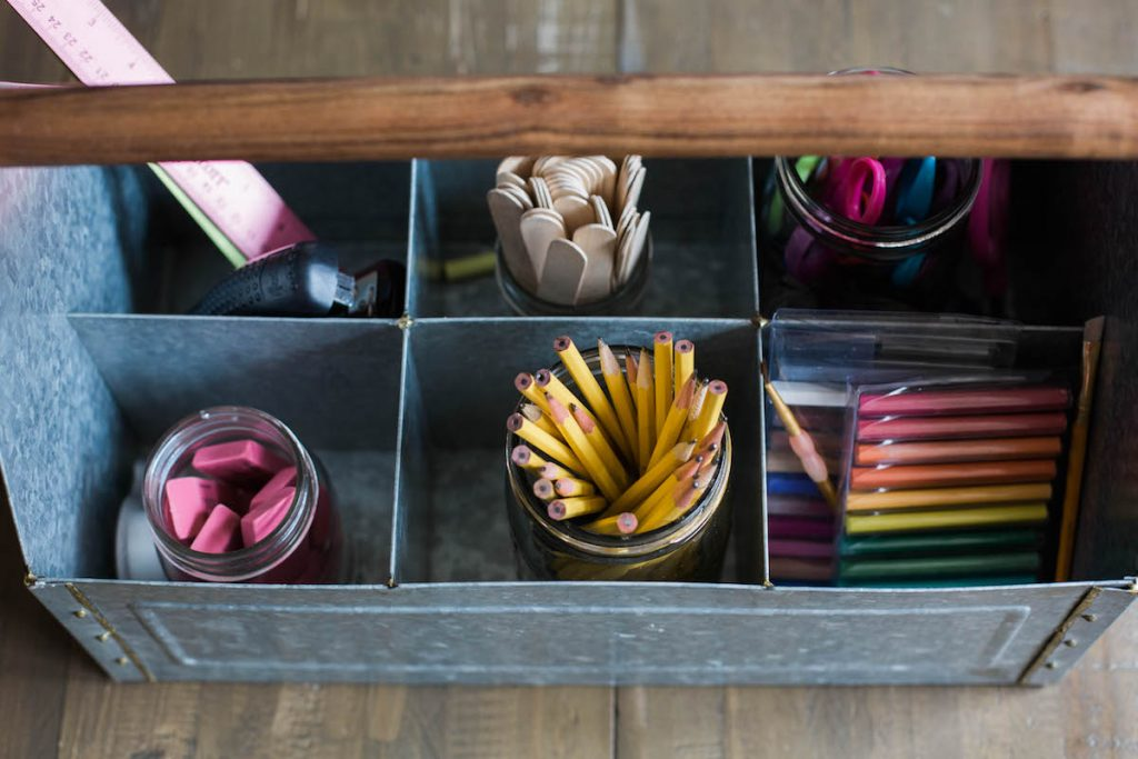 Back to homeschool: a simplified space.Back to homeschool: a simplified space. Keeping often used supplies within arm's reach.