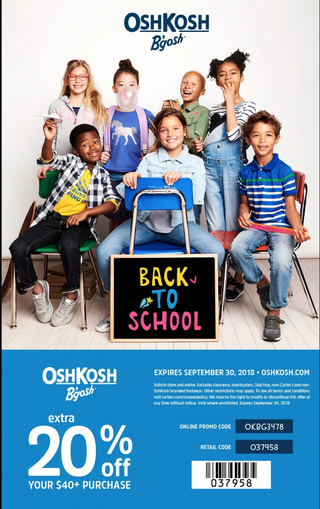 OshKosh B'gosh back to school clothes coupon code! Kids fashion, affordable.