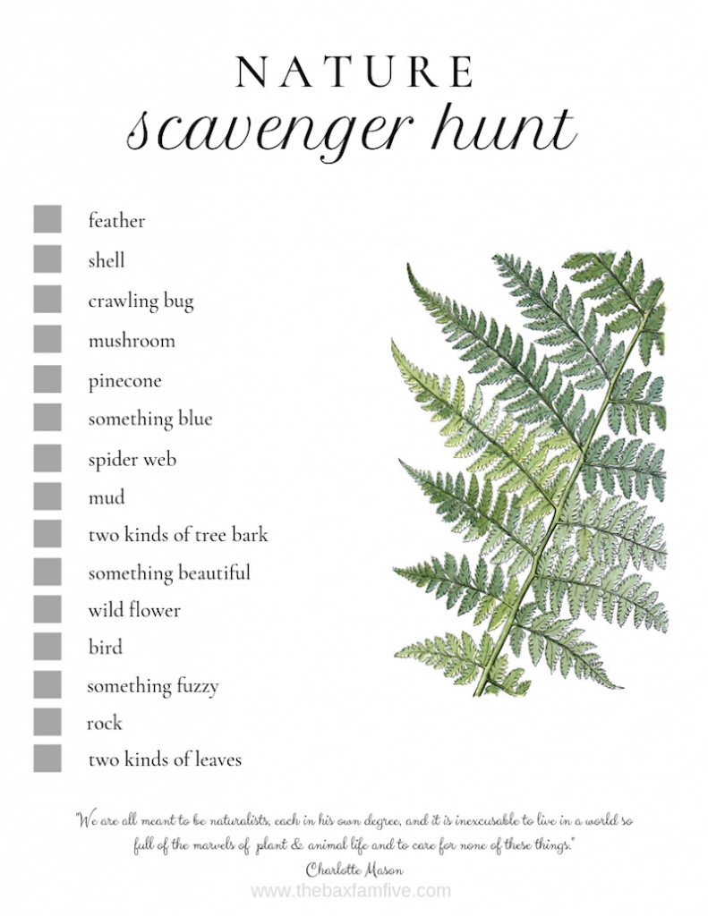 free nature scavenger hunt printable to use while enjoying the outdoors